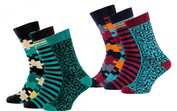 "Herrensocken ""Puzzle"" * 60er-Sortiment"
