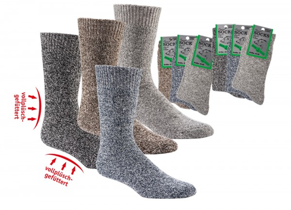 Mouliné-Vollfrottee-THERMO-Socken mit Wolle * 3er-Bündel