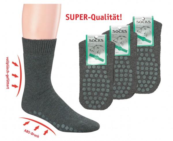 35-38+43-46/ABS-Vollplüsch-Socken, mit Wolle * 3er-Bündel