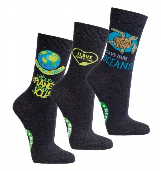 """Save the Planet"" Recycling-Socken * 3er-Bündel"