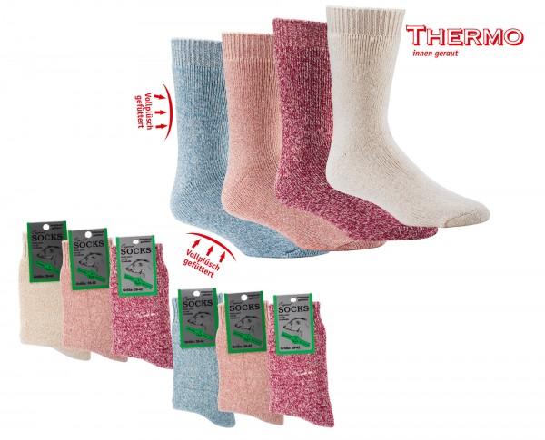 Vollplüsch Damen THERMO-Socken mit Wolle * 3er-Bündel