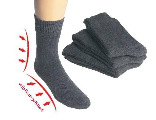 35-38/Vollplüsch-Socken, mit Wolle * 3er-Bündel