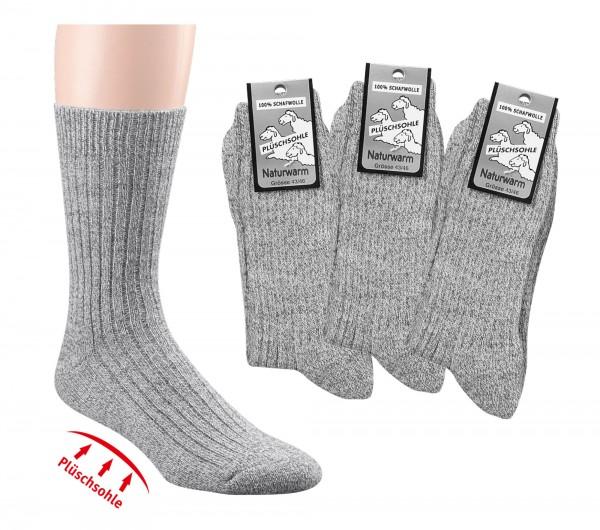 100% Wolle - Wellness-Socken mit Plüschsohle * 3er-Bündel