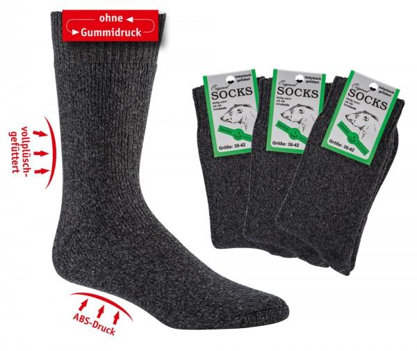 OHNE Gummi/Wellness-Vollfrottee-THERMO-Socken mit Wolle * 3er-Bündel