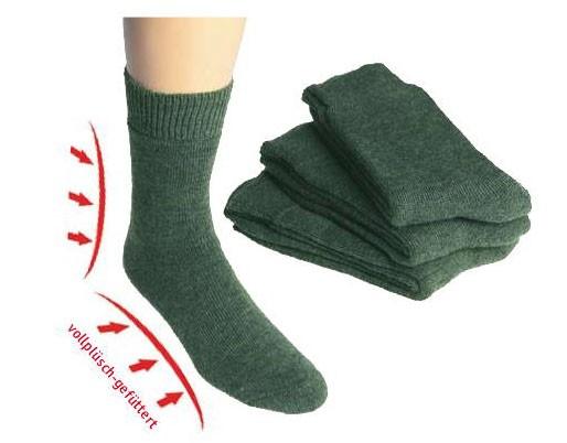 Vollplüsch-Socken, lodengrün * 3er-Bündel