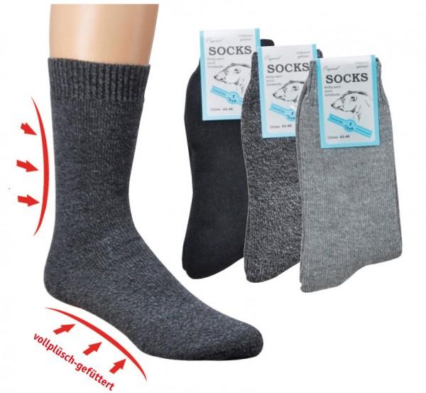 Vollplüsch-Socken, mit Wolle * 60er-VE