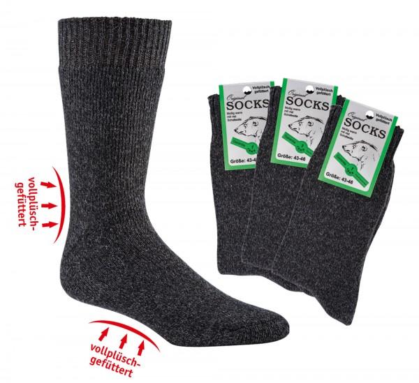 Vollfrottee-THERMO-Socken mit Wolle * 3er-Bündel