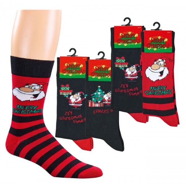 "Herren-Computer-Socken ""Weihnachts-Comic"" * 2er-Bündel"