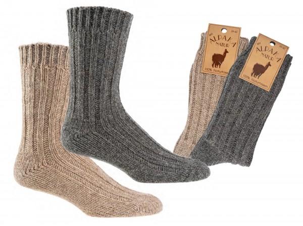100% Wollsocken mit Alpaka * 2er-Bündel